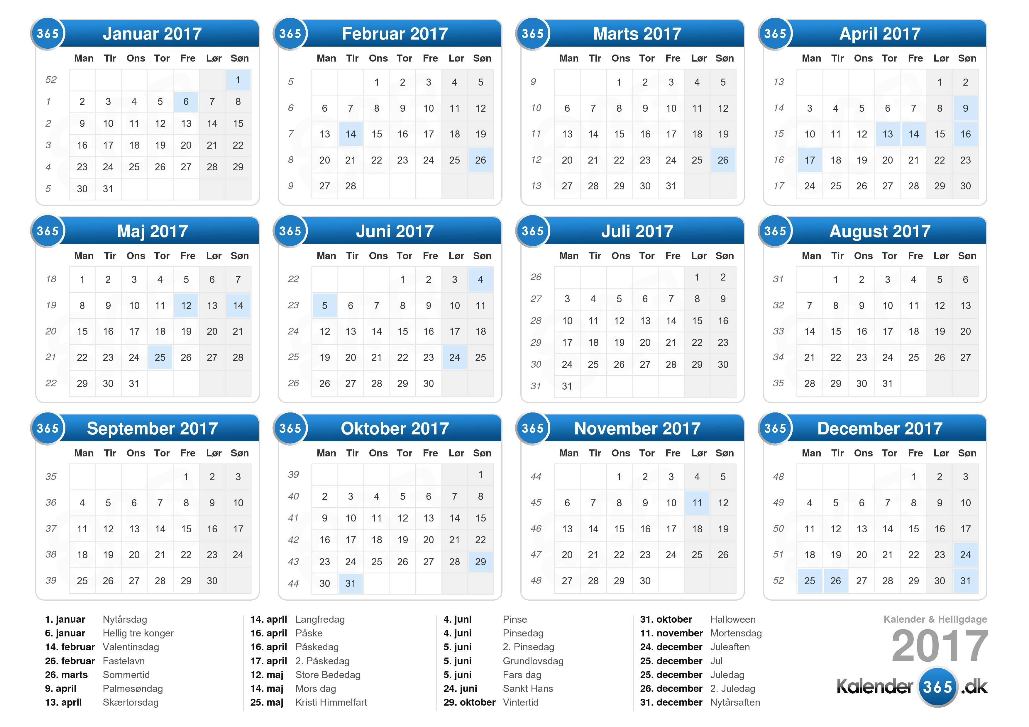 Download Kalender 2017 med helligdage . (Liggende format - 1 Side)