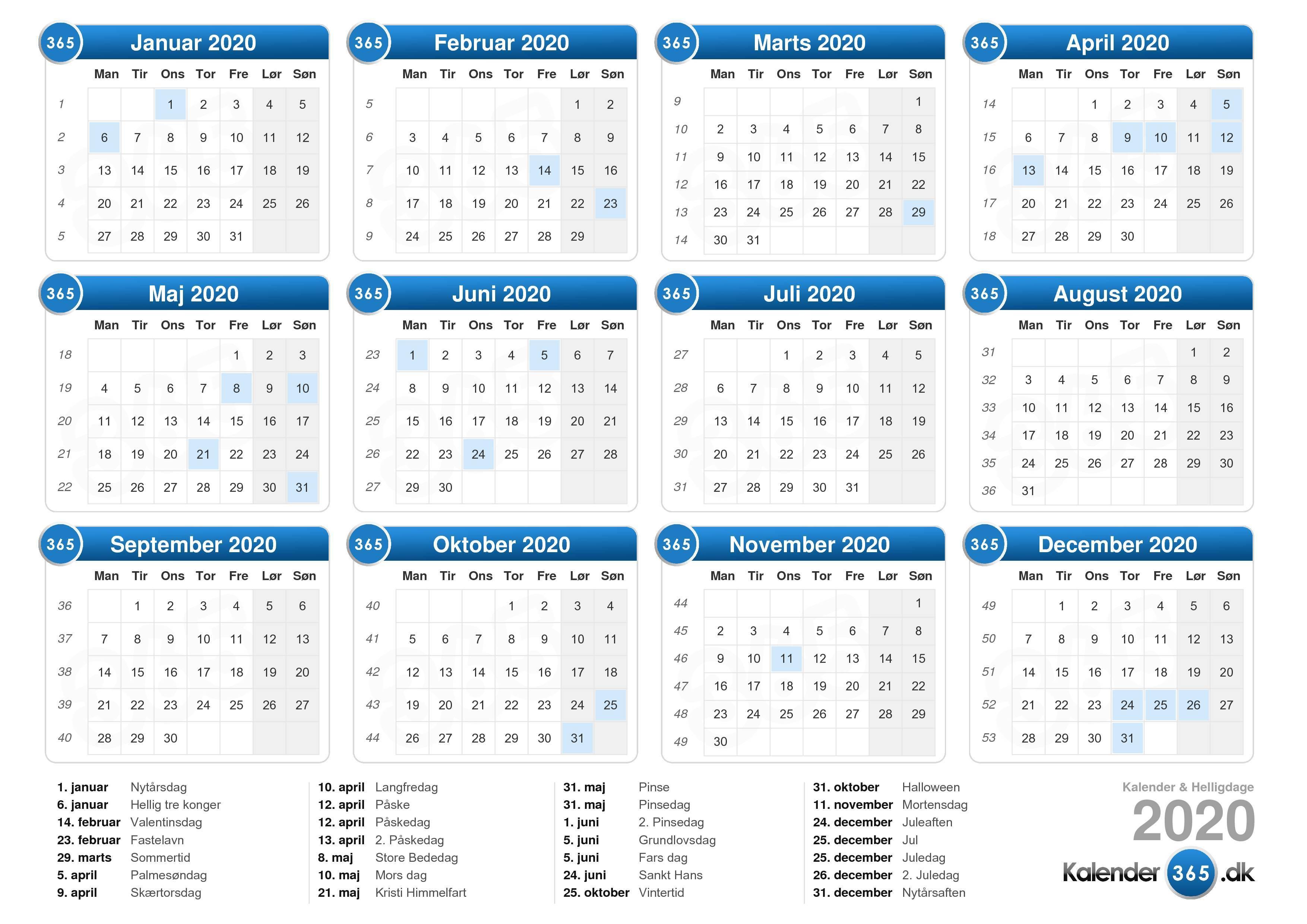 Jahreskalender zum ausdrucken 2020