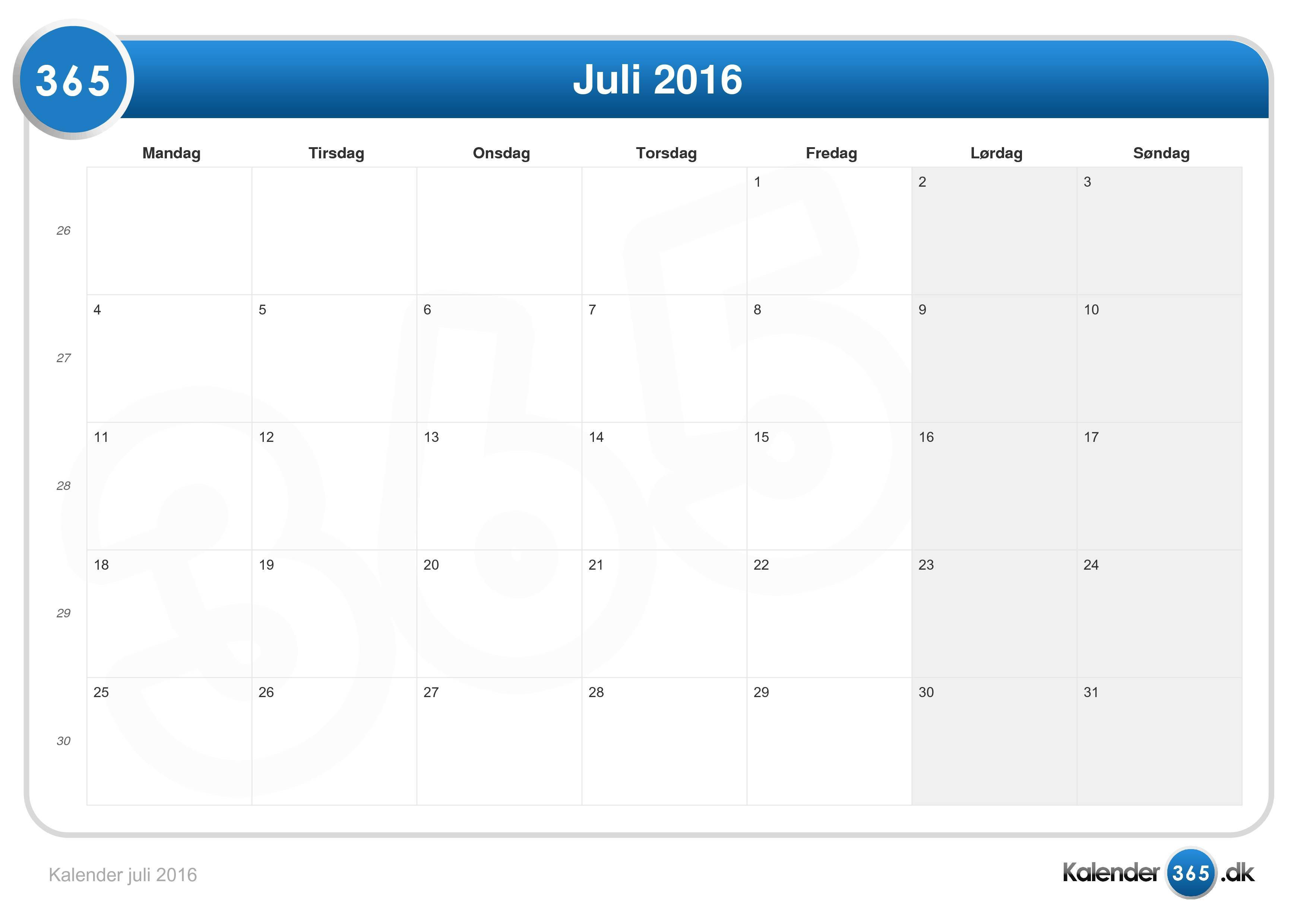 dansk kalender 2016